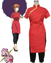 Envío Libre Gintama Silver Soul Kagura Corto Cheongsam Manga Anime Cosplay Costume