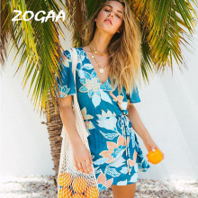ZOGAA Women Dress 2019 New Summer Sexy V Neck Floral Print Chiffon Boho Style Short Party Beach Dresses Vestidos De Fiesta