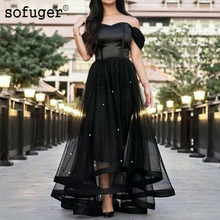 Black Off The Shoulder Party Beadings Sweetheart High Low Pleat Evening Dress Robe De Soiree Sofuge Vestidos Fiesta Noche