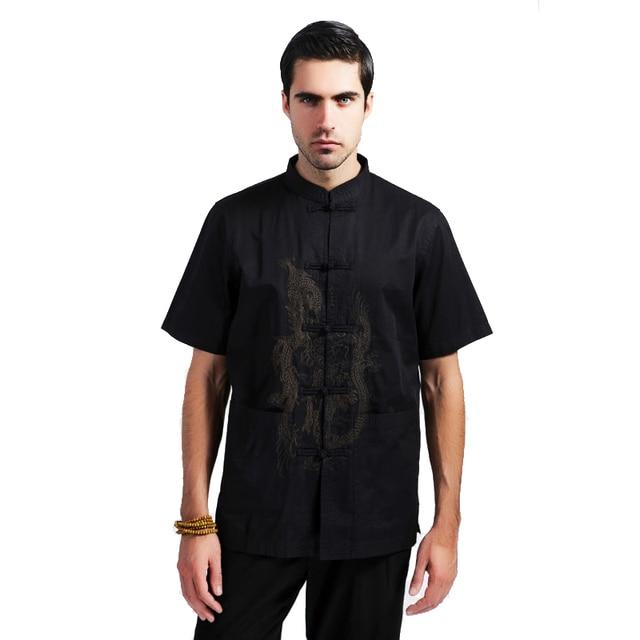Black Traditional Chinese Men Cotton Summer Shirt Kung Fu Shirt Embroidery Dragon camisa masculina Plus Size XXXL MS094
