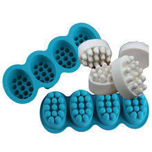 PR378 Massage Soap Bar Mold Silicone Resin 4 Cavities for DIY Making Ellipse Shape Aromatherapy