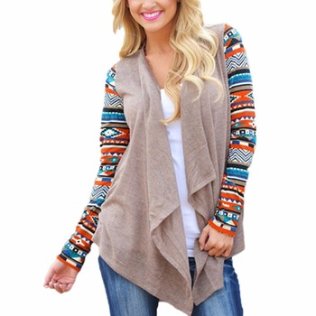 2017 Women Knit Cardigan Jacket Boho Hippie Patterned Geometric Casual Spring Fall Asymmetric Baggy Long Sleeve Tunic Top Coat como vestir con sueter mujer