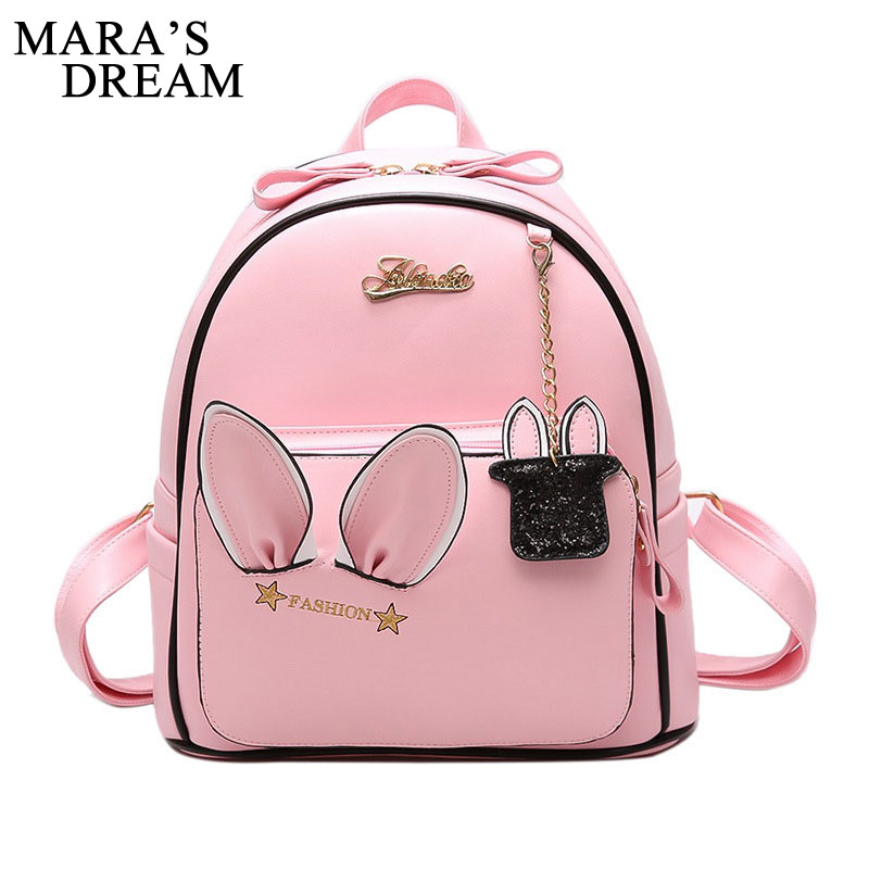 Mara's Dream Cute Ears Backpack Women PU Leather Backpacks For Teenage Girls School Bags Female Solid Korean Travel Rabbit Bag 2017 new fashionable cute soft black grey pink beige solid color rabbit ears bow knot turban hat hijab caps women gifts