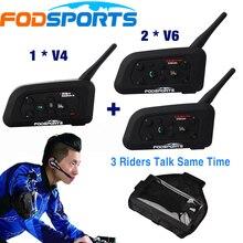 1 *V4+2 *V6 BT Interphone 3 Riders Talking at the same time for Football Referee Judge Bike Wireless Bluetooth Headset Intercom