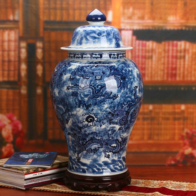 Big Hand Painted Ginger Jar Blue And White Dragon Temple Jars Floor