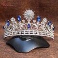 Lujo de La Boda Nupcial Tiara Coronas Princesa Queen Pageant Prom azul Rhinestone Accesorios de La Boda Celada Diadema TiaraRE186
