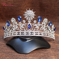 Luxury Wedding Bridal Tiara Crowns Princess Queen Pageant Prom blue Rhinestone Wedding Accessories Headpiece Headband TiaraRE186