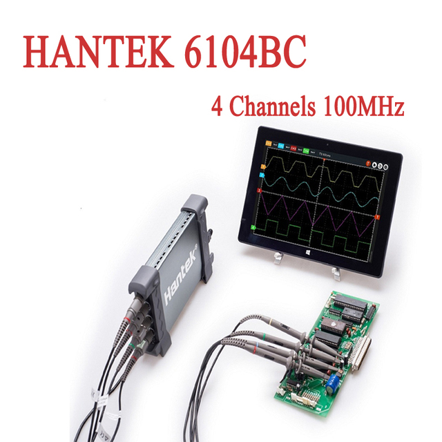 USB Oscilloscopes Hantek 6104BC PC Based 4 Channels 100MHz Osciloscopio Portable Automotive Oscillograph 1GSa/s 2mV-10V/DIV