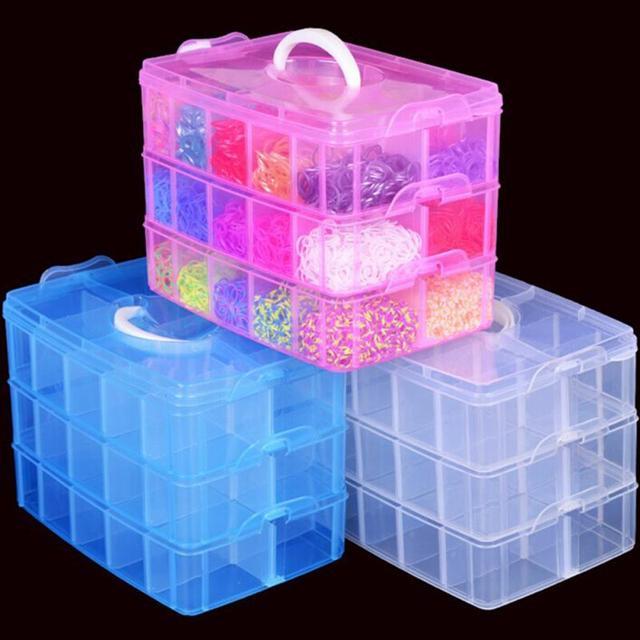 3-strati staccabile del desktop FAI DA TE scatola di immagazzinaggio di Plastica