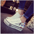 2017 Spring Autumn Shoes Woman High Platform Canvas Shoes lace up Casual Flats white Shoes Woman 9156
