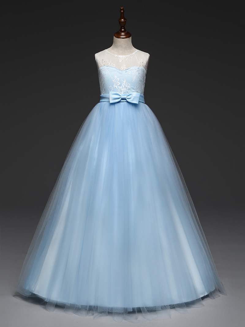 Children Floor Length Princess Evening Gowns Long Mint Pink Lavender Light Blue Dress Girls 4 To 11 12 13 14 Year Old Summer