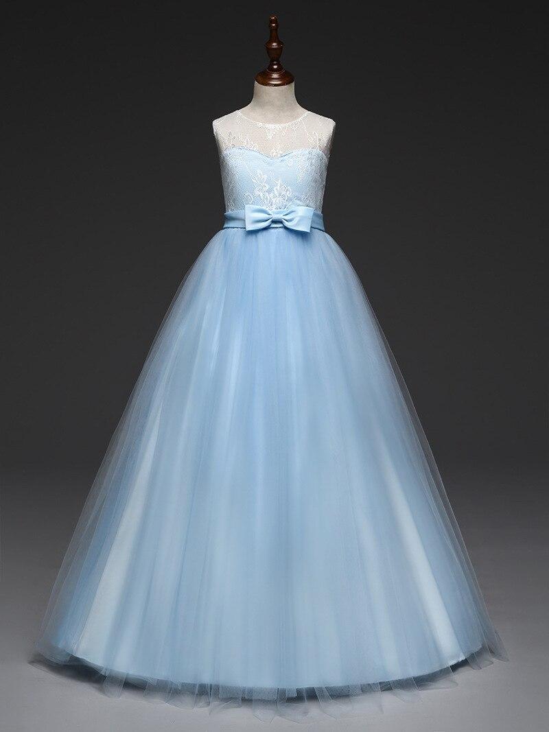Children Floor Length Princess Evening Gowns Long Mint Pink Lavender Light Blue Dress Girls 4 To 11 12 13 14 Year Old Summer