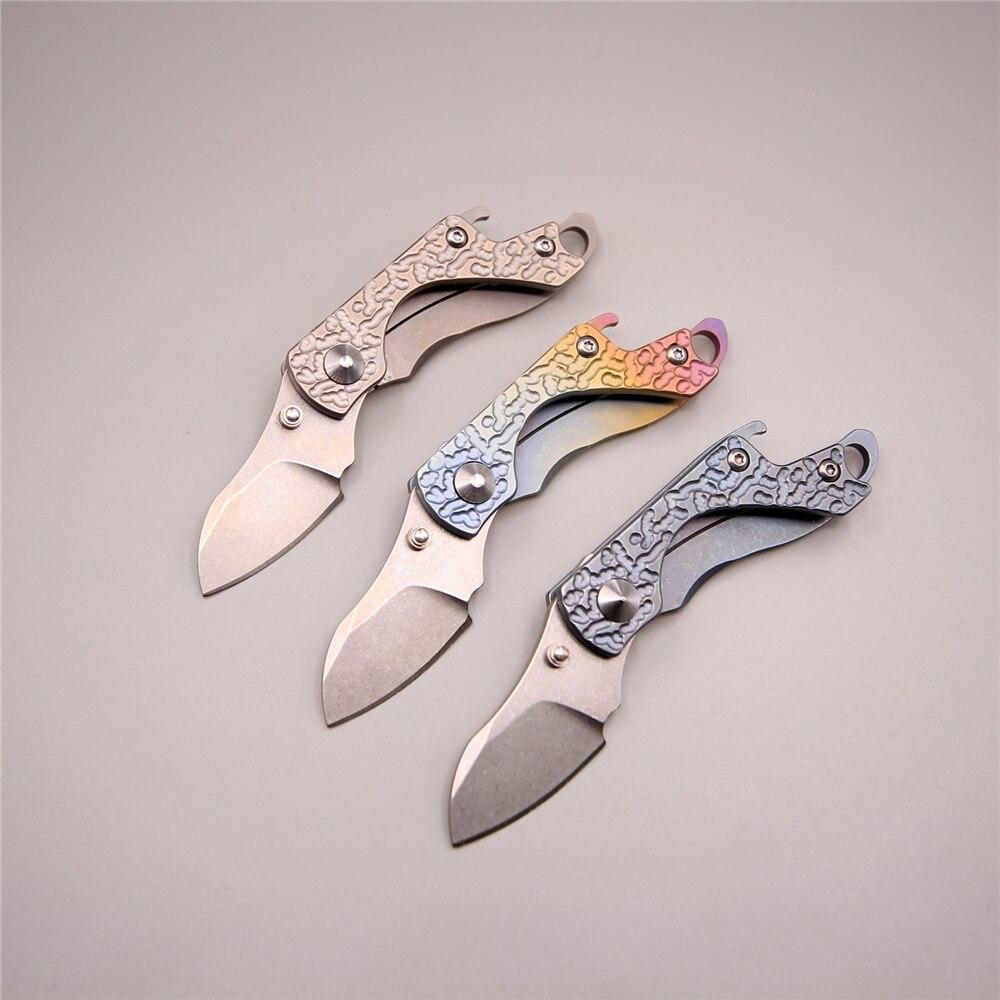 Capra 11 cm 34g molto piccolo edc coltello ragazze difesa pocket pesca attrezzi di campeggio s35vn lama di titanio chiave pieghevole coltelli coltello
