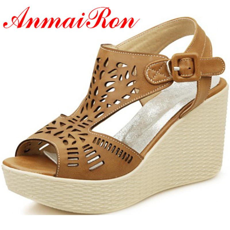ANMAIRON Summer Ankle Strap Wedges High Heels Sandals Platform Casual Shoes Woman Gladiator Sandals Soft Leather Buckle Shoes chnhira 2017 suede gladiator sandals platform wedges summer creepers casual buckle shoes woman sexy fashion high heels ch406