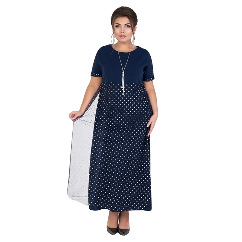 2019 New Arrival Summer Women Dress <font><b>6XL</b></font> <font><b>Plus</b></font> <font><b>Size</b></font> Oversized Ankle Length Casual Dot Straight Female Dresses Vestidos Party image