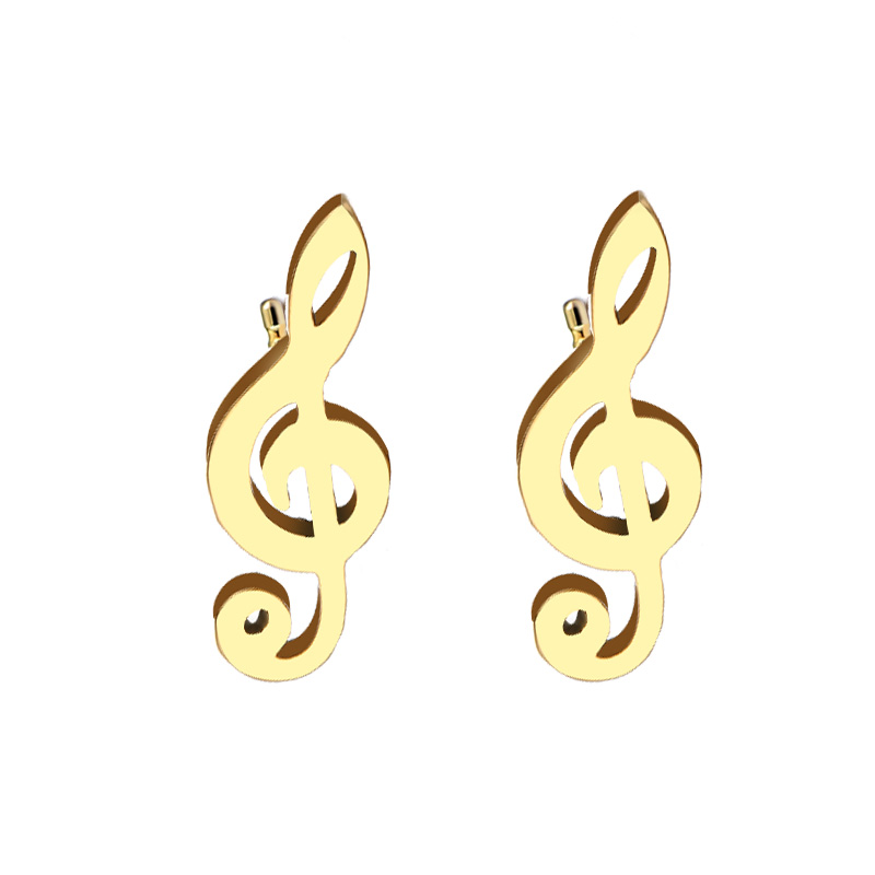 Cacana Stainless Steel Stud Earring Music Treble Clef IMG_4522