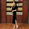 New Women Chinese Traditional Long Dress Vestidos Velvet Lady Vintage Embroidery Cheongsam Dress QiPao Evening Dress
