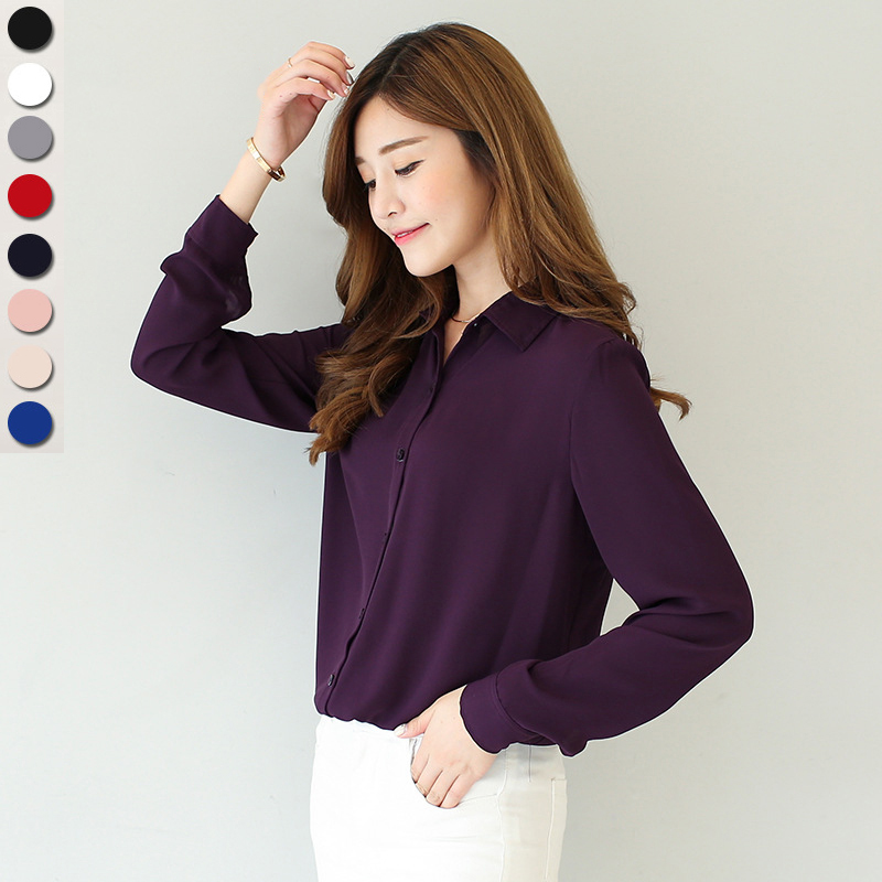 2018 spring new hot solid color lapel long sleeve shirts Plus Size shirt chiffon blouse shirt women's casual loose blouses EY8