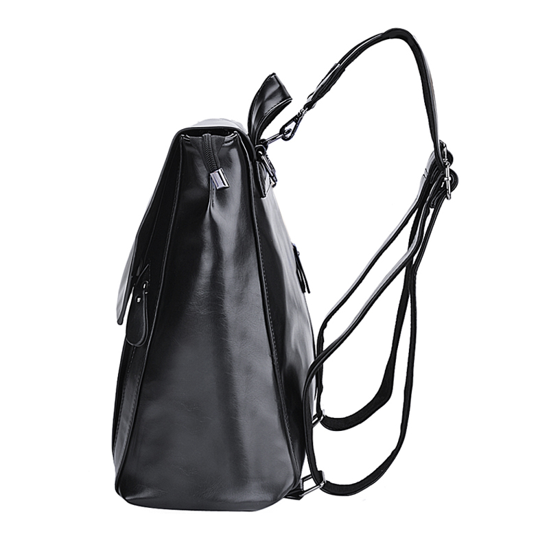 Coofit Fashion Women Trendy Backpacks Korean Style PU Leather Rucksack Flap  Cover Schoolbags For Girls Travel Black Bag Satchels-in Backpacks from  Luggage ... b44a7965a02ec