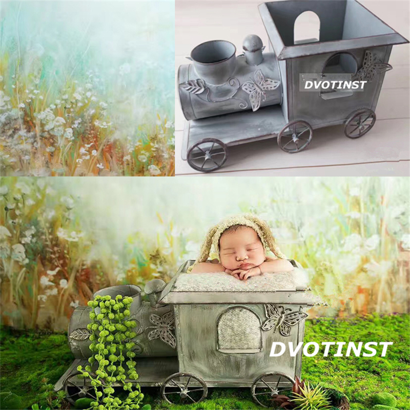 Dvotinst Newborn Baby Photography Props Iron Train Iocomotive Shower Gift Fotografia Accessories Infant Toddler Studio Shooting