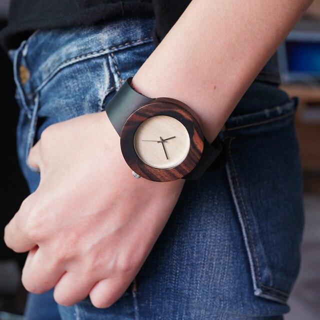 БОБО ПТИЦА C09 Мужчины Женщины Древесины Бамбука Смотреть Причинно Круглым Кварцевые Часы с Кожаный Ремешок часы в Подарок коробка
