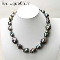 Natürliche süßwasser Barocke perle halskette tiefe blau pfau grün schwarz perle kette halsband lange halskette AA für mädchen geschenk partei