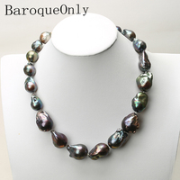Natural freshwater Baroque pearl necklace deep blue peacock green black pearl chain choker long necklace AA for girl gift party