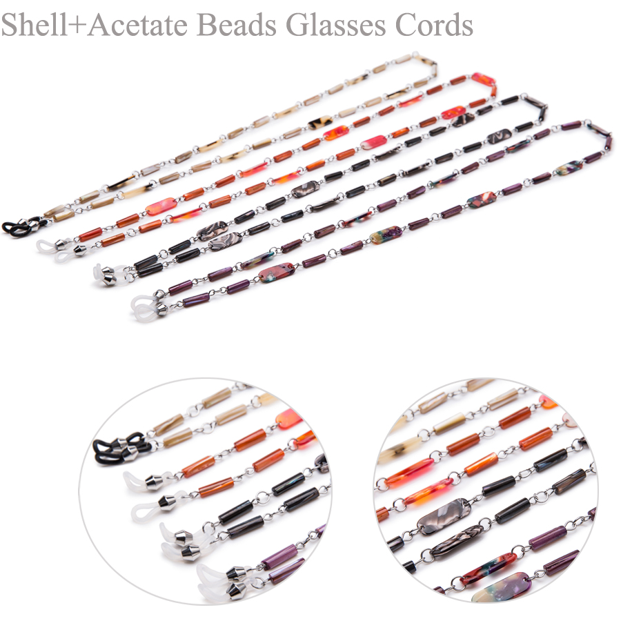 10PCS High quality Acetate with shell beads sun glasses chain eyewear neck cord string retainer glasses holder with gift pouch