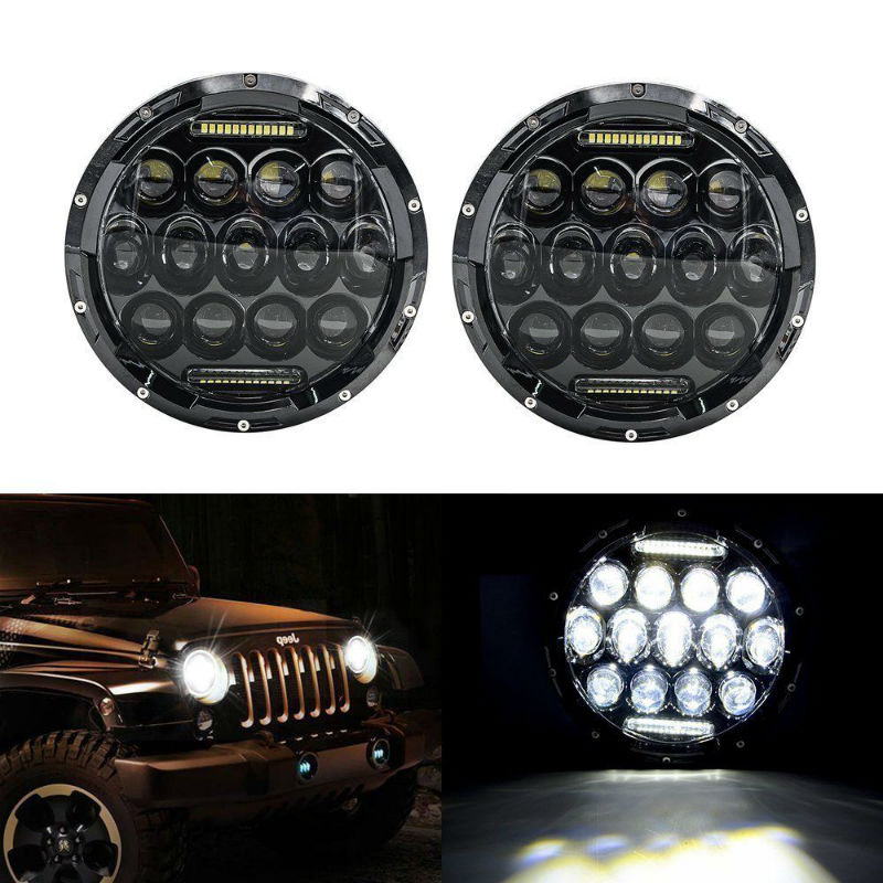 Car Lights Adroit 7 75w Led Round Projector Headlamps Hi/lo Beam For Jeep Wrangler Jk Tj Lj Cj Sahara Rubicon Unlimited Sport 03-09 Hummer H1&h2 Activating Blood Circulation And Strengthening Sinews And Bones Car Light Assembly