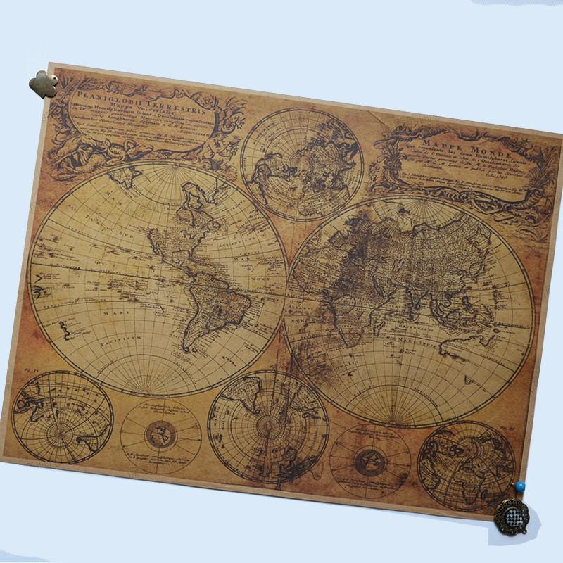 ᗖNostalgia Kraft Paper world maps retro Map Poster decorative
