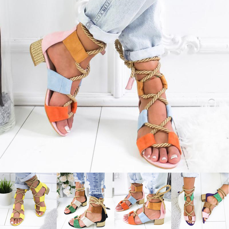 Women Low And Medium Heel Casual Sandals Celebrity Wearing Mixed Colors Style Colorful Cross Strap High Heels Shoes Size 34-43Women Low And Medium Heel Casual Sandals Celebrity Wearing Mixed Colors Style Colorful Cross Strap High Heels Shoes Size 34-43
