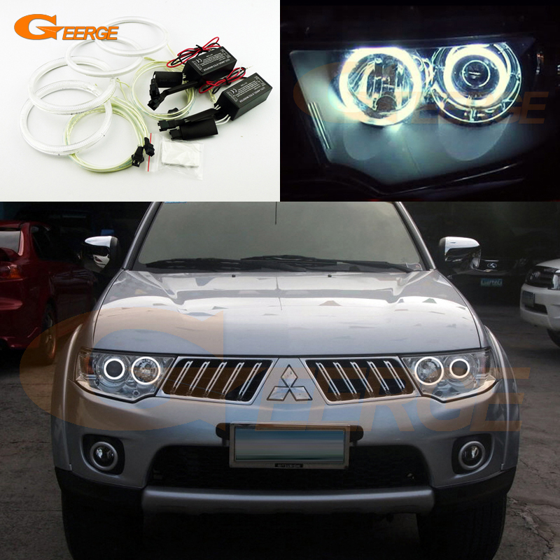 все цены на  For Mitsubishi Challenger Pajero Sport 2008-2014 Excellent Ultra bright headlight illumination CCFL Angel Eyes kit Halo Ring  онлайн
