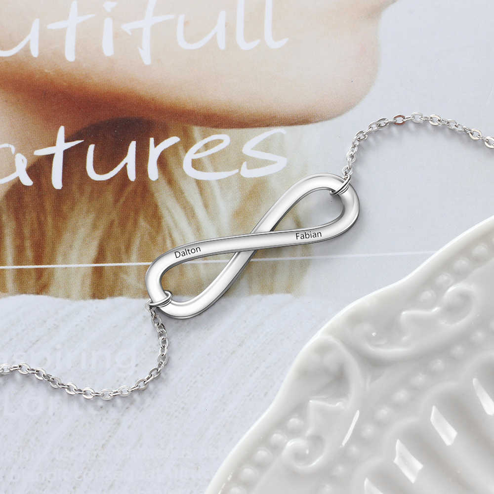 Amour infini personnalisé graver nom collier couleur argent colliers et pendentifs pour les femmes (bijouora NE103164)
