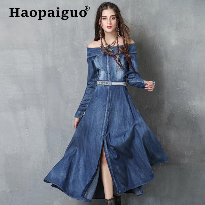 55e1e9c7898 Femmes Grande Taille Big 2019 Robe Jeans Décontracté Blue Arc Denim Vintage  Bikinis Brodés Bleu Cou ...