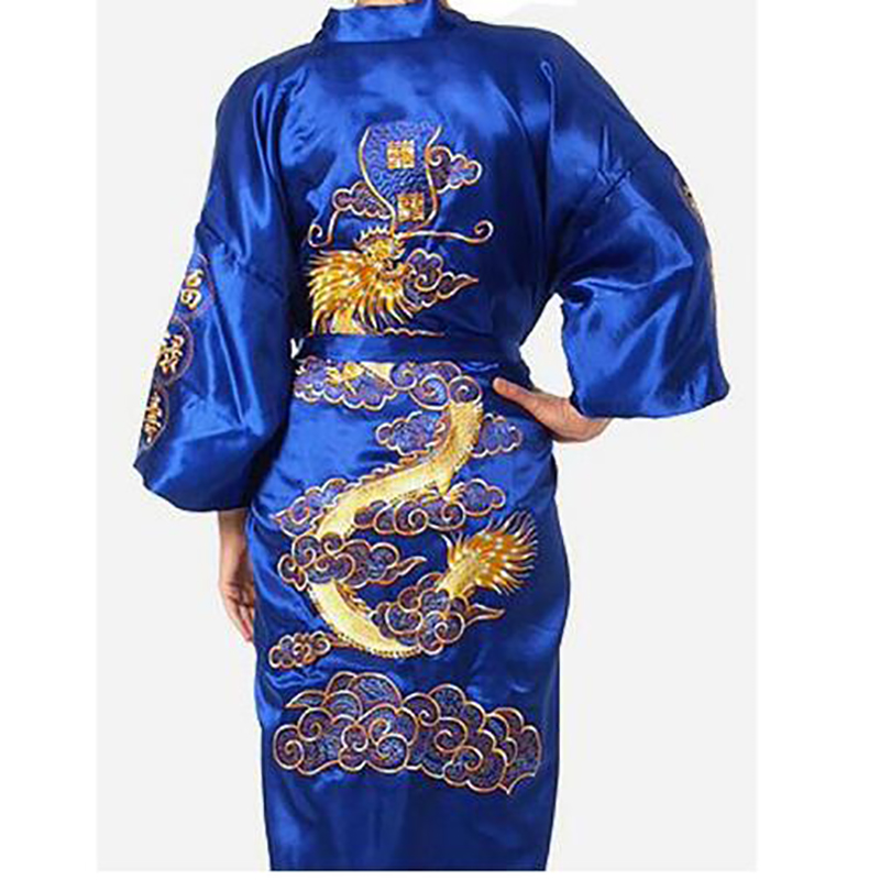 2019 New Chinese Men's Satin Silk Robe Embroidery Kimono Bath Gown Dragon Pattern Bathrobes Home Nightwear