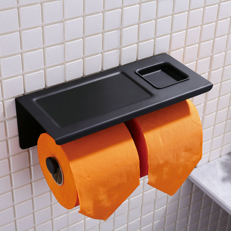 Double Toilet Paper Holder Black Wall Mounted Toilet Paper Holder with Mobile Phone Shelf Ashtray Bathroom Accessories PH01 everso wall mounted toilet paper holder with shelf stainless steel toilet roll paper holder tissue holder bathroom accessories