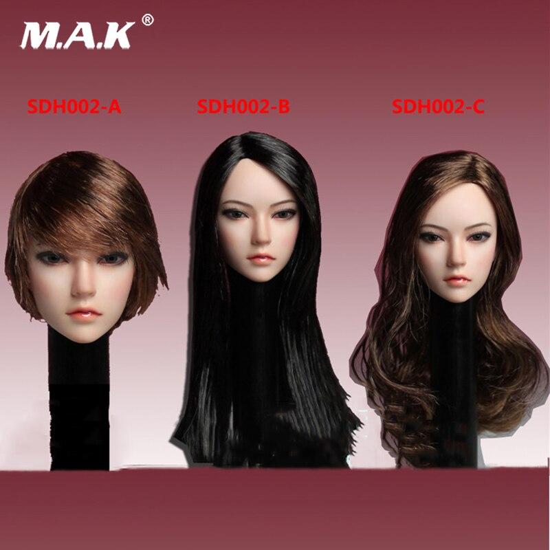1/6 Scale Asia Female Brown Curls black straight short Hair Head Sculpt SDH002 Long Curls Hair Fit for 12 inches Femal body