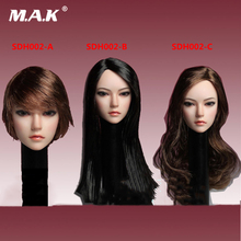 1/6 Scale Asia Female Brown Curls black straight short Hair Head Sculpt SDH002 Long Fit for 12 inches Femal body