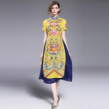 Summer Dress 2017 Dashiki Midi Dresses For Women British Style plus size Embroidery Floral Robes Chiffon Long Dresses