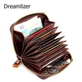 Dreamlizer Genuine Leather Unisex Card Holder Wallets Vintage Female Credit Card Holders Women Pillow Card holder Purse