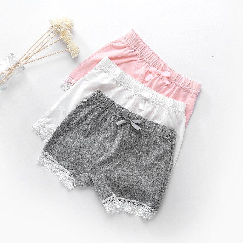 Summer Kids Girls Safety Pants Lace Baby Cotton Underwear Children Bow-Knot Short Leggings Elastic Mid Waist Girls Shorts 3-13T