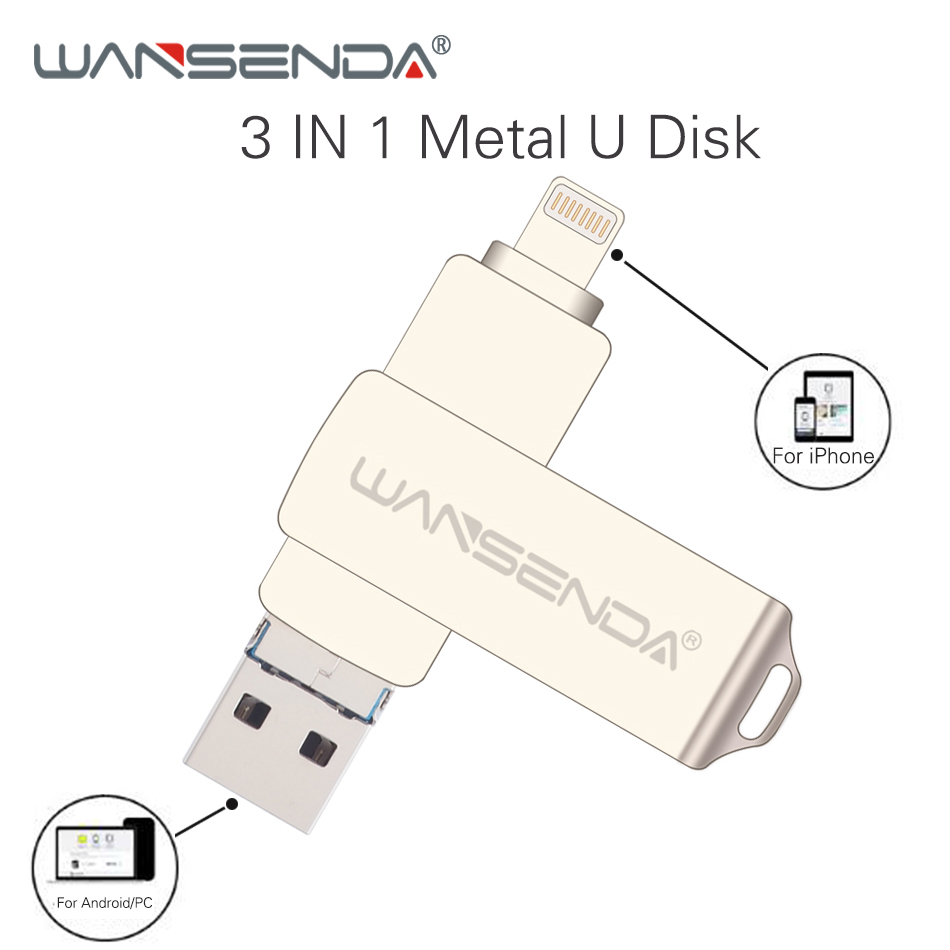 WANSENDA Usb 3.0 USB Flash Drive 128GB OTG Pen Drive Flash Disk 32GB 64GB Pendrive 3 In 1 Micro Usb Stick For IPhone/Android/PC