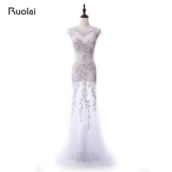 a854da286 Real Sexy Vestido de Fiesta de graduación de 2019 vestidos sirena vestidos  noche largo de manga ver a través de Vestido de Fiesta PD70