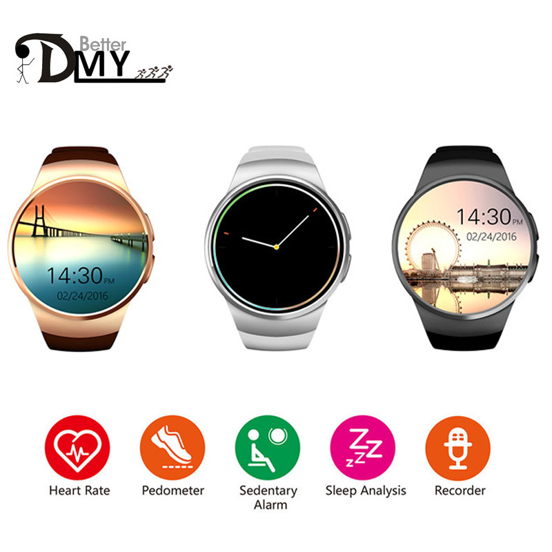 Bluetooth New smart watch phone KW18 MTK2502C 1 3 inch round screen IPS LCD 240X240 Bluetooth