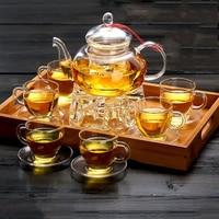 All Ready Elegant Glass Tea Set Borosilicate Glass Teapot With Cups Bamboo Tea Tray Tea SetKettle Warmer Glass Teapot Giftset