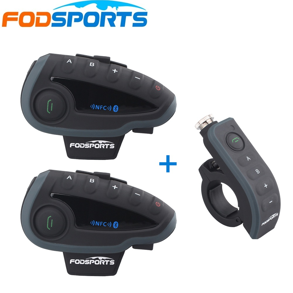 2 unids fodsports V8 anfitrión Intercom + 1 mando a distancia, motocicleta Bluetooth Intercom auriculares con NFC FM apoyo 5 jinetes hablar