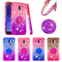 Glitter Liquid Case For samsung J4 J3 J7 2018 ring holder diamond colorful shining Soft TPU Phone Case For samsung J5 J4+ J6plus