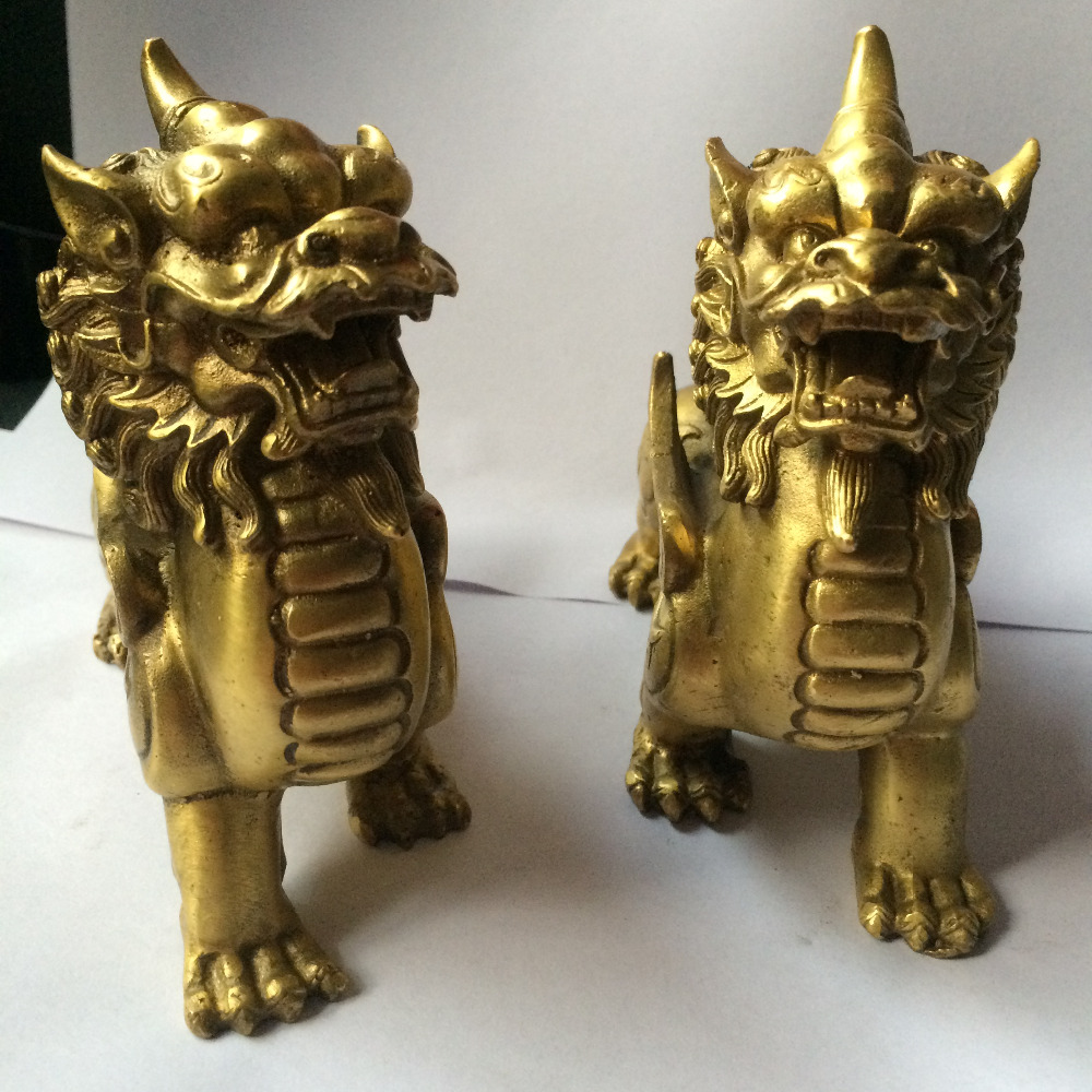 a pair of chinese Brass Feng shui Lucky PiXiu Phylactery Guardian fly Beast Statue decoration gift metal handicraft