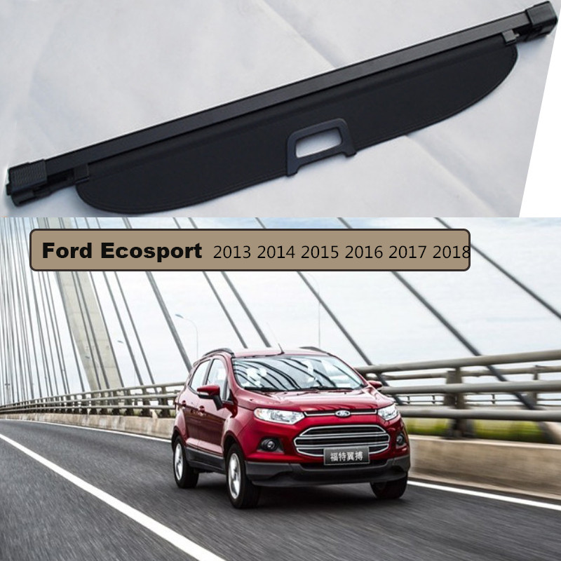 Rear Trunk Security Shield Cargo Cover For Ford Ecosport 2013 2014 2015 2016 2017 2018 High Qualit Auto Accessories Black Beige car rear warning lamp for ford ecosport 2013 2015 external automobiles for anti collision rear end auto safe driving lights