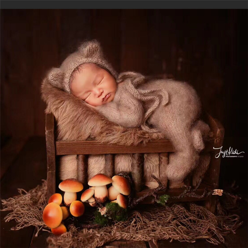 Studio Newborn Photography Props Baby Boy Original Retro Railing Cot Newborn Posing Sofa Solid Wood Bed Props For Photo Shoots